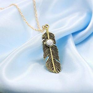 Jewelry - Bronze Jeweled Feather Necklace (White)